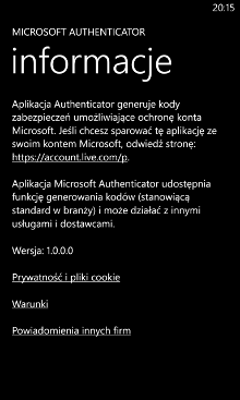 Authenticator - konto Microsoft Windows Phone