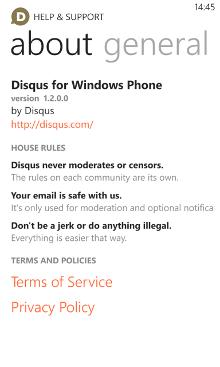 Disqus 1.2.0.0 - Windows Phone