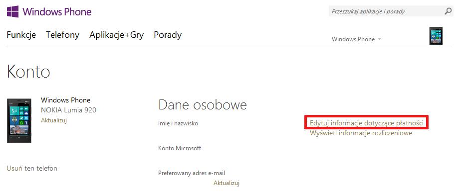 Sklep Windows Phone - edytuj informacje dotyczące płatności