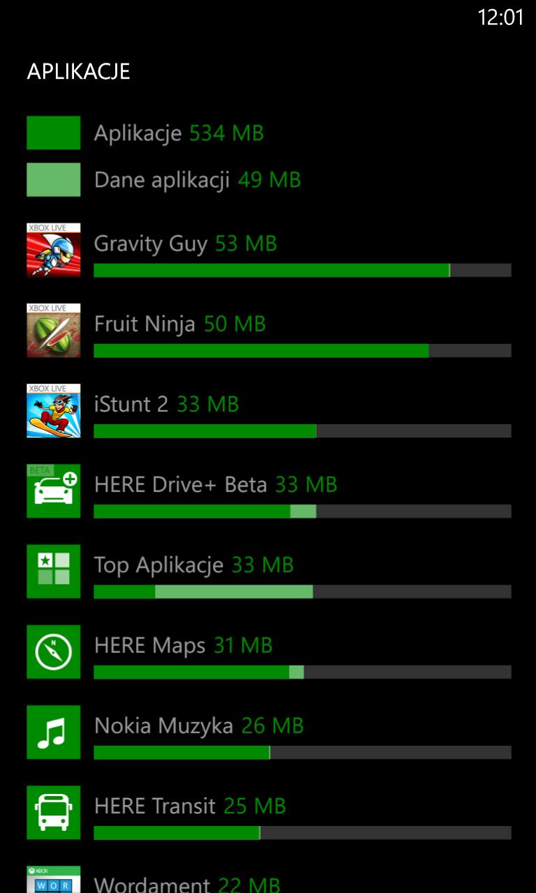 Kontrola pamięci Lumia