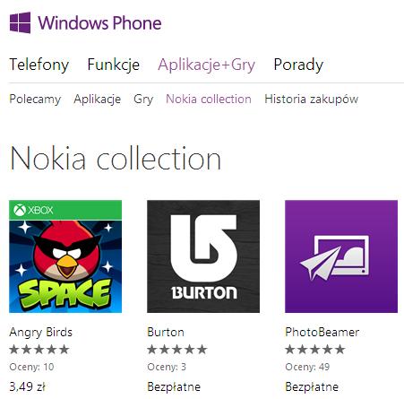 windowsphone.com pozwala na przeglądanie aplikacji Nokia Collection