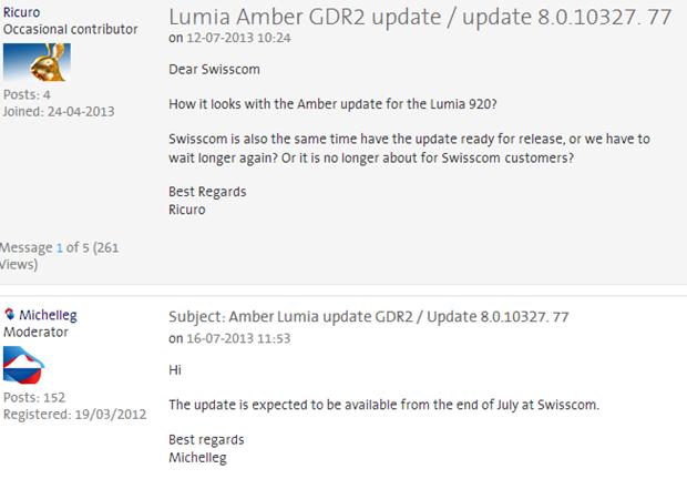 Swisscom AG potwierdza datę aktualizacji Amber GDR2 dla telefonów Nokia Lumia