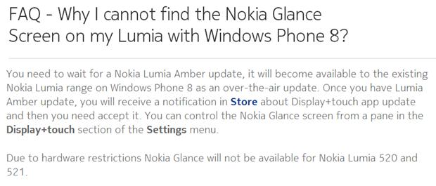 Glance Screen nie dla Nokii Lumii 520 i 521