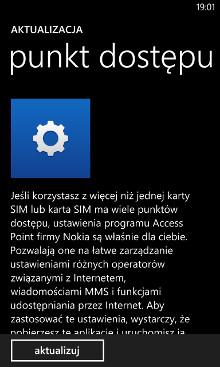 Punkt dostępu 3.7.2.15 - aktualizacja w sklepie Windows Phone