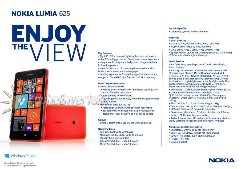Specyfikacja telefonu Nokia Lumia 625