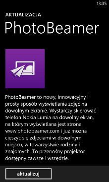 Aktualizacja PhotoBeamer - sklep Windows Phone