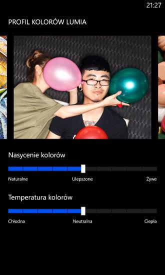 Profil kolorów Lumia - oprogramowanie Amber