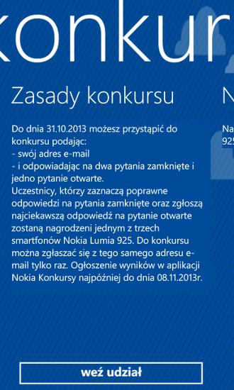 Nokia Konkursy - zasady konkursu Nokia Lumia 925