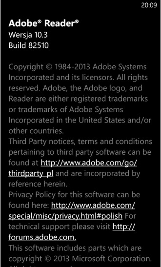 Adobe Reader 10.3.0.0 dla Windows Phone