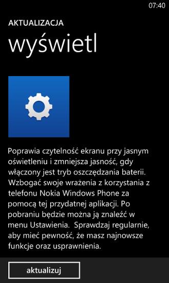 Aktualizacja wyświetl w sklepie Windows Phone