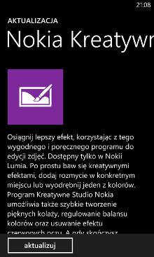 Nokia Kreatywne Studio - aktualizacja w sklepie Windows Phone