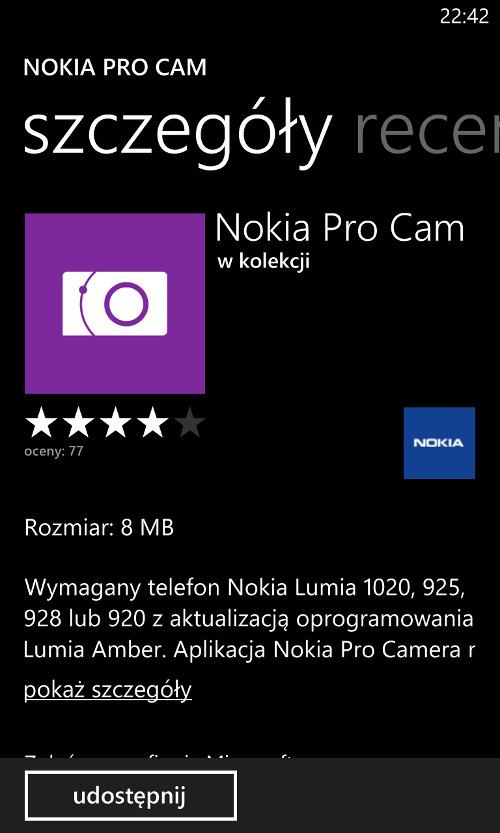 Nokia Pro Cam - aplikacja dostępna dla telefonów Nokia Lumia 920, 925 i 928