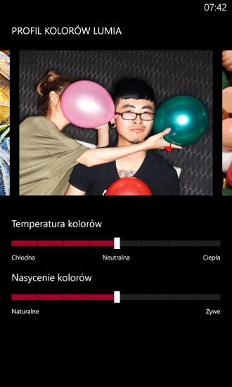 Wyświetl - profil kolorów Lumia - Nokia Lumia Amber
