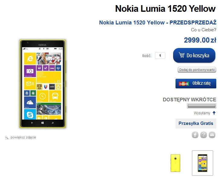 Nokia Lumia 1020 w przedsprzedaży