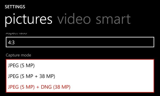 ustaweinie RAW DNG - Nokia Lumia