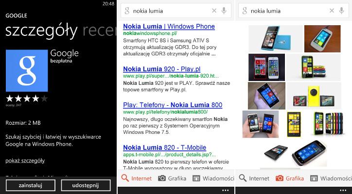 Wyszukiwarka Google dla Windows Phone 8