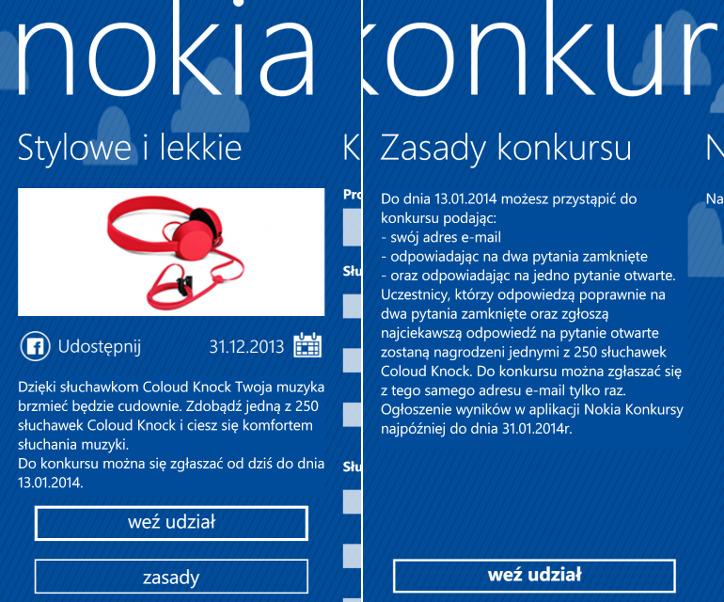 Nokia Konkursy - słuchawki Nokia Coloud Knock