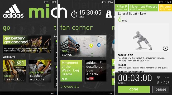 adidas miCoach Windows Phone