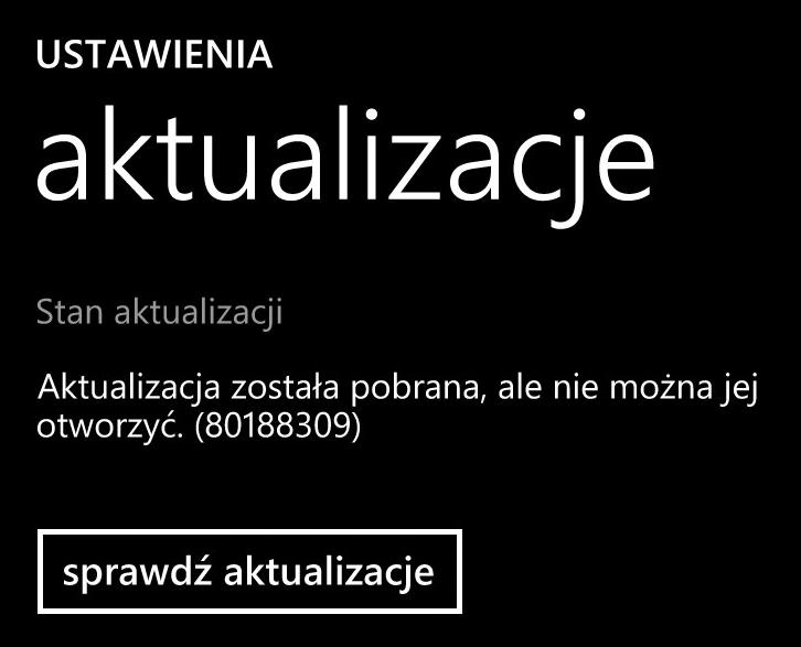Lumia Black - aktualizacja została pobrana, ale nie można jej otworzyć (80188309)