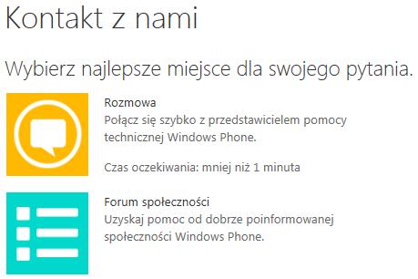 Rozmowa z przedstawicielem pomocy technicznej Windows Phone