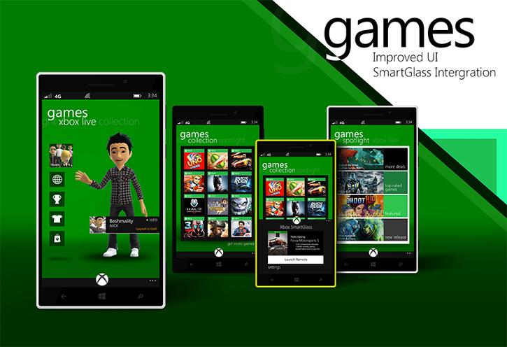 Windows Phone 8.1 hub gier