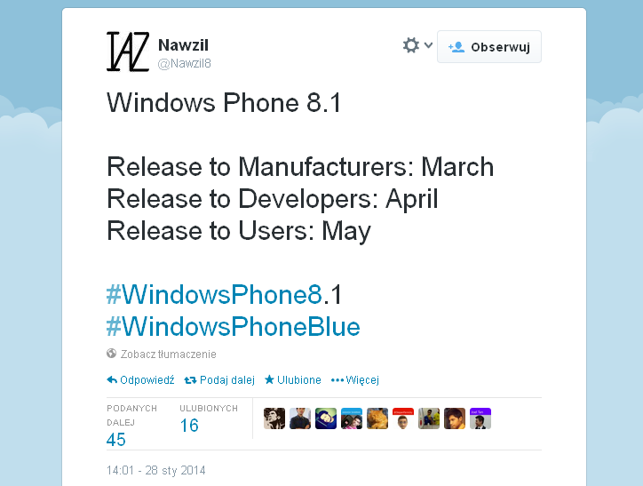 Windows Phone 8.1 w maju