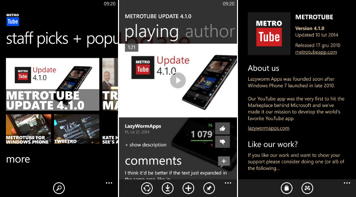 MetroTube - aplikacja YouTube dla Windows Phone