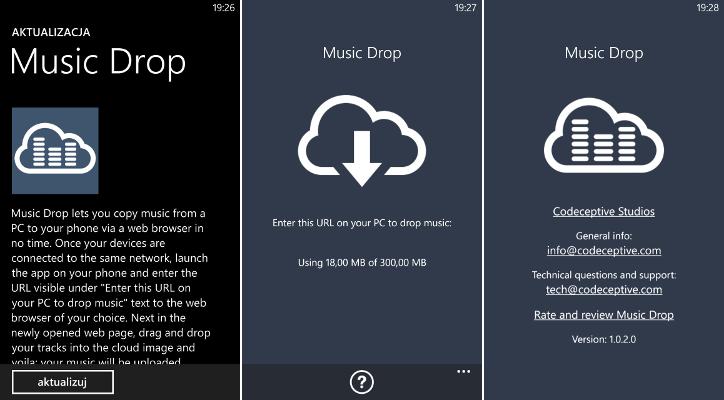 Przesyłanie muzyki Windows Phone 8 - Music Drop