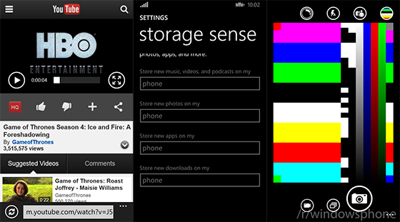 Windows Phone 8.1 - YouTube, Storage Sense, aplikacja aparatu
