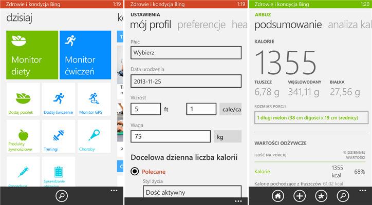 Zdrowie i kondycja Bing Beta Windows Phone