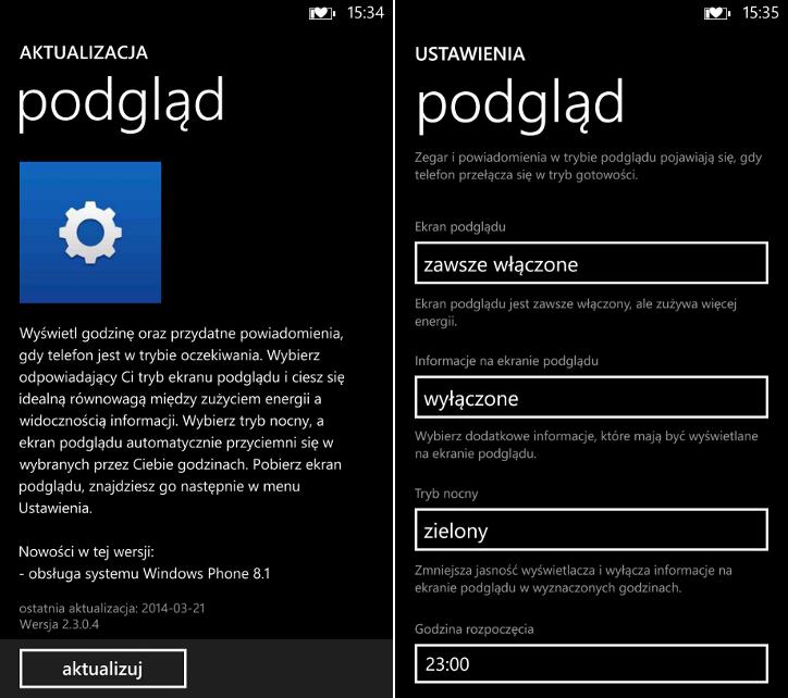 podgląd Nokia Lumia Windows Phone 8.1