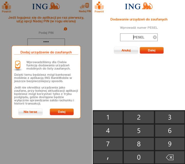 INGMobile Windows Phone - dodawanie zaufanych urządzeń