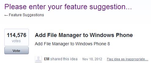 Menedżer plików Windows Phone