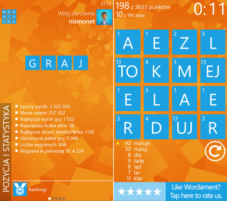 Wordament Windows Phone