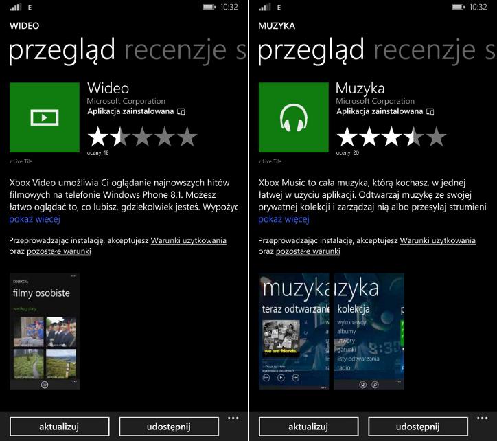 Aktualizajca Muzyka i Wideo dla Windows Phone 8.1