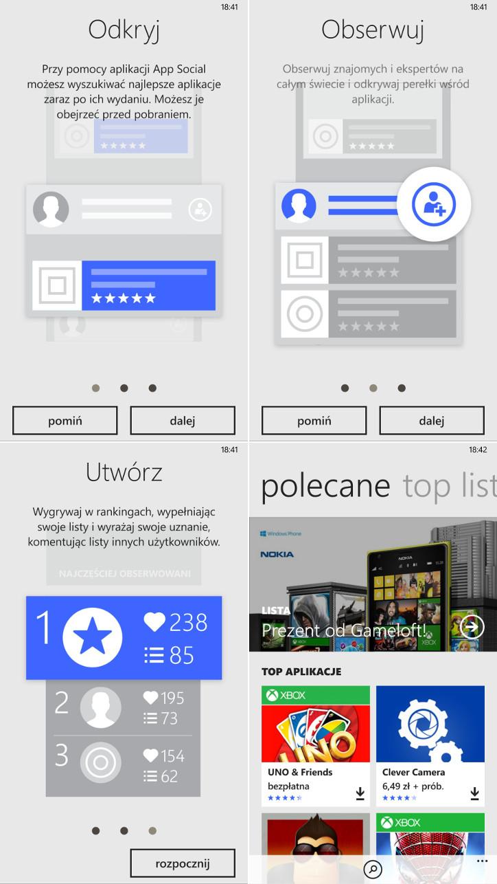 App Social dla telefonów Nokia Lumia z systemem Windows Phone