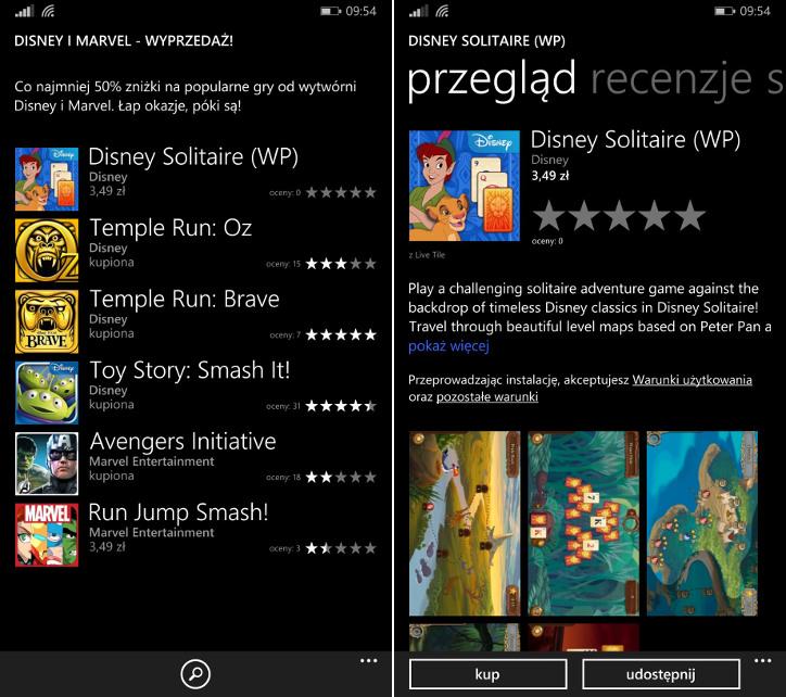 Disney i Marvel wyprzedaż dla Windows Phone