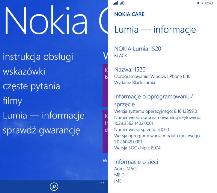Nokia Care Windows Phone 8.1