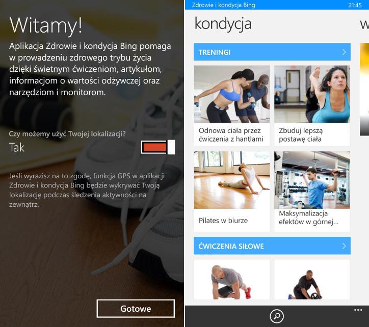 Zdrowie i kondycja Bing dla Windows Phone 8.1