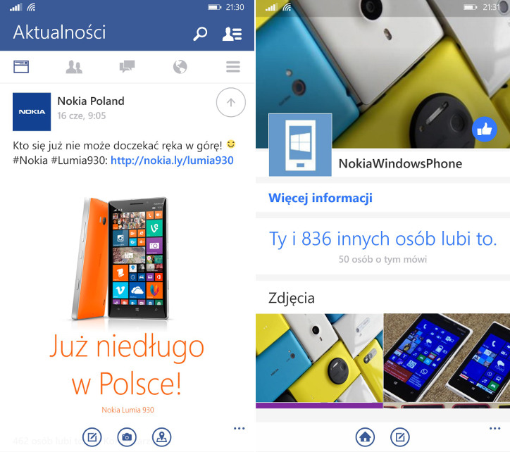 Facebook Beta dla Windows Phone