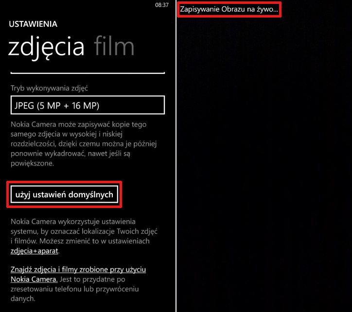 Jak włączyć żywe obrazy w Nokia Camera Beta