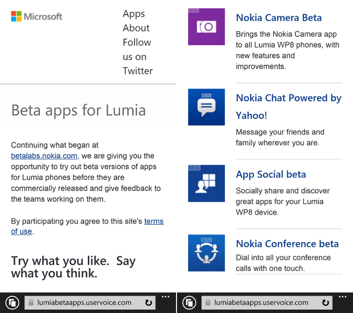 Beta apps for Lumia