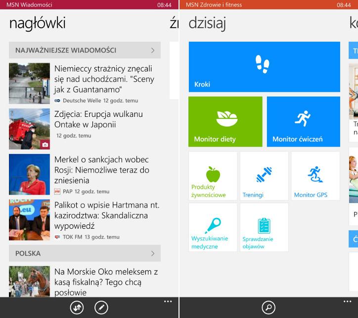 Aplikacje MSN dla Windows Phone