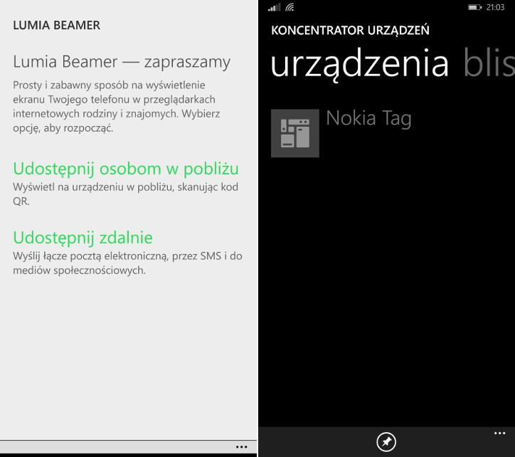 Lumia Beamer i koncentrator urządzeń