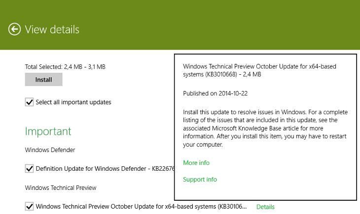 Aktualizacja Windows 10 Technical Preview - KB3010668