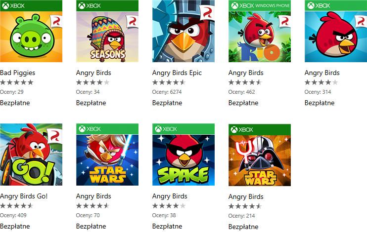 Gry Angry Birds bezpłatne w Sklepie Windows Phone