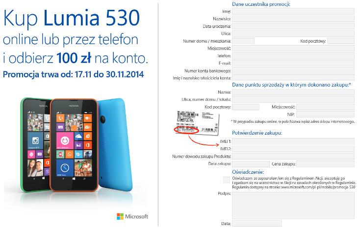 Lumia 530 zwrot 200zł formularz
