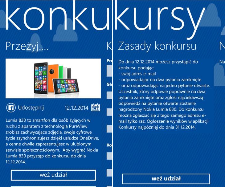 Lumia 830 w aplikacji Konkursy