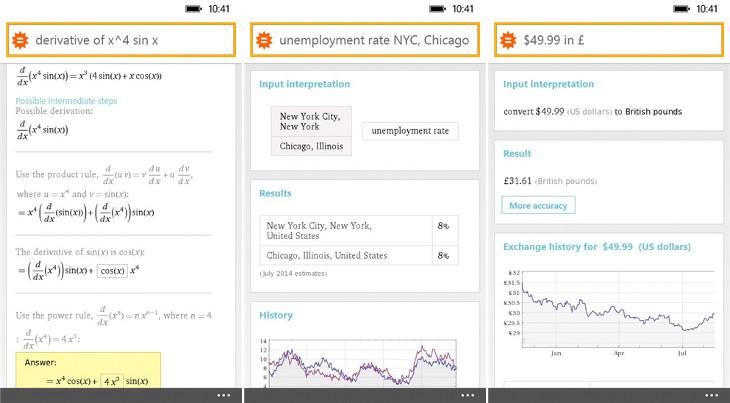 Wolfram Alpha Windows Phone