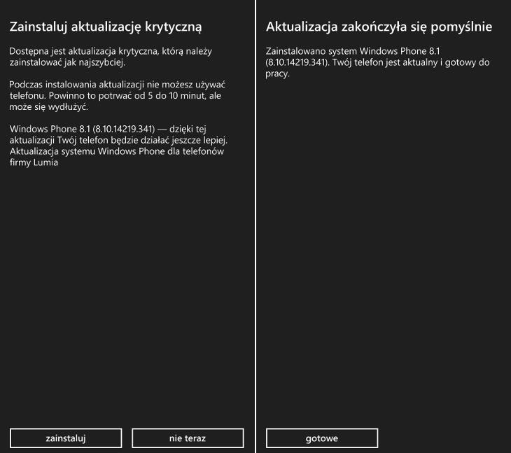 Aktualizacja krytyczna Lumia Denim dla Windows Phone 8